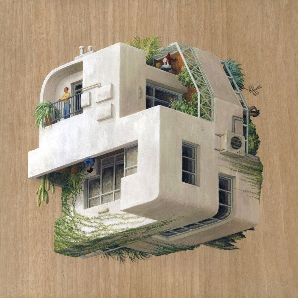 New Inverted Architecture Paintings by Cinta Vidal