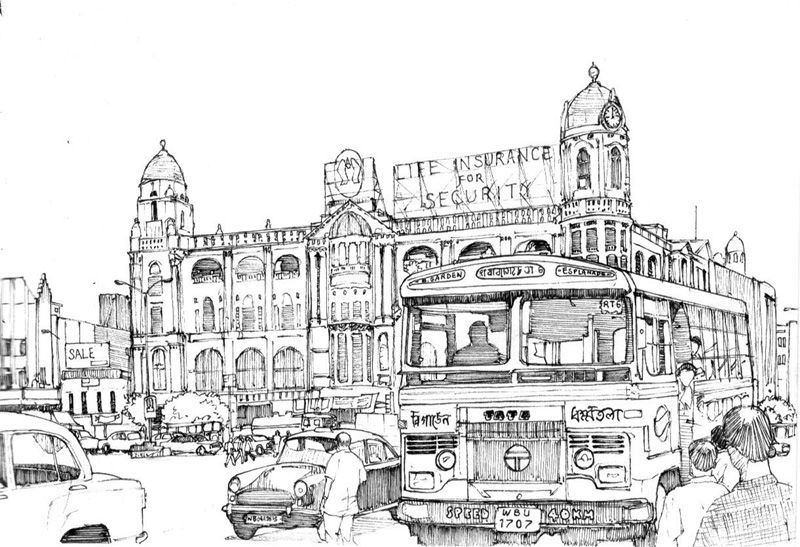 A drawing of central kolkata calcutta with the ubiquitous ambassador cars and tata buses