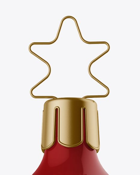 Glossy Christmas Bell Mockup - Front View (Close-Up)
