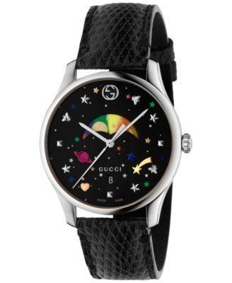Photo of Gucci Women's Swiss G-Timeless Black Lizard Leather Strap Watch 36mm & Reviews – All Fine Jewelry – Jewelry & Watches – Macy's