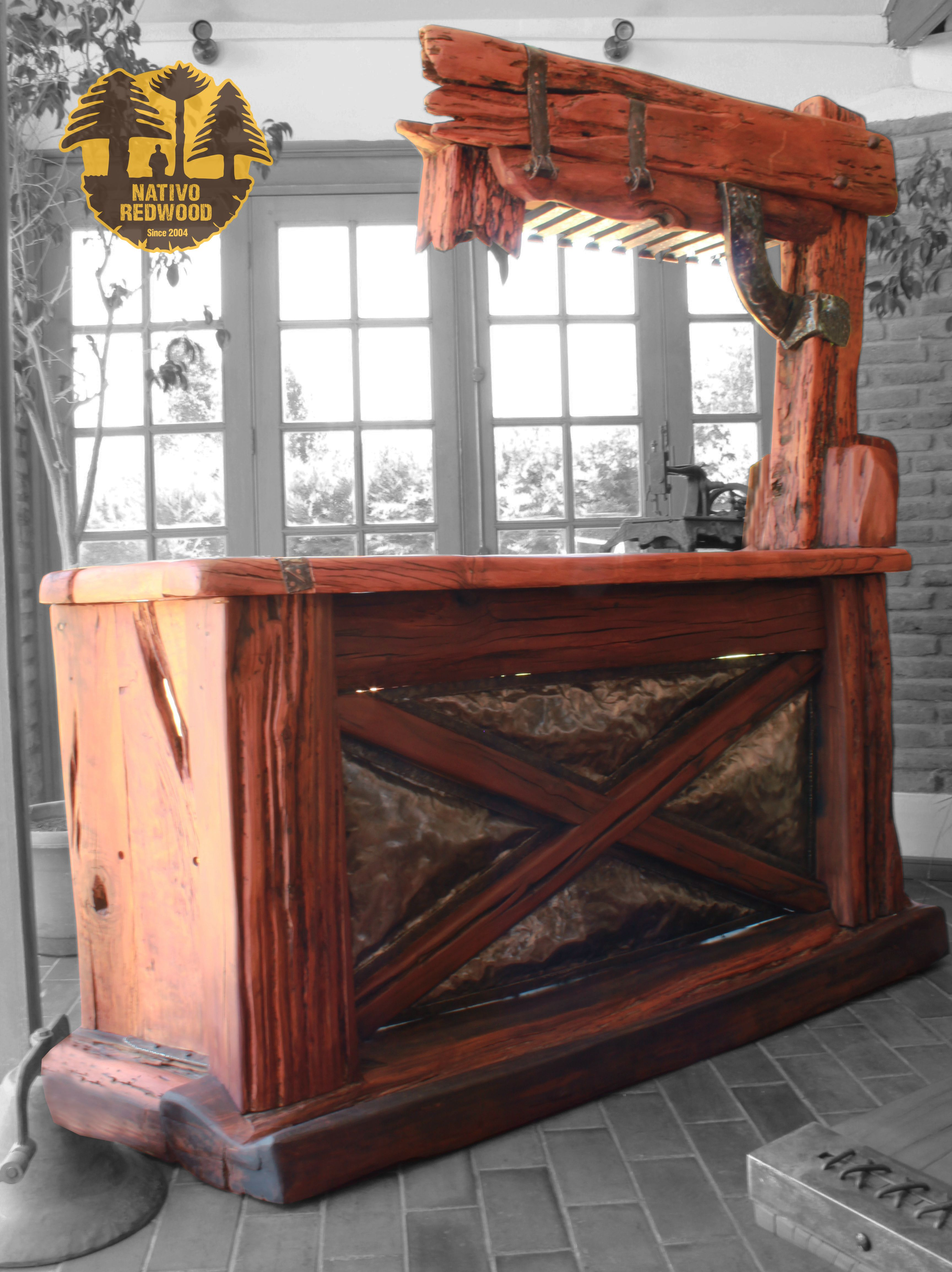 Nativo redwood bar de roble rustico mezclado con for Bar de madera chile