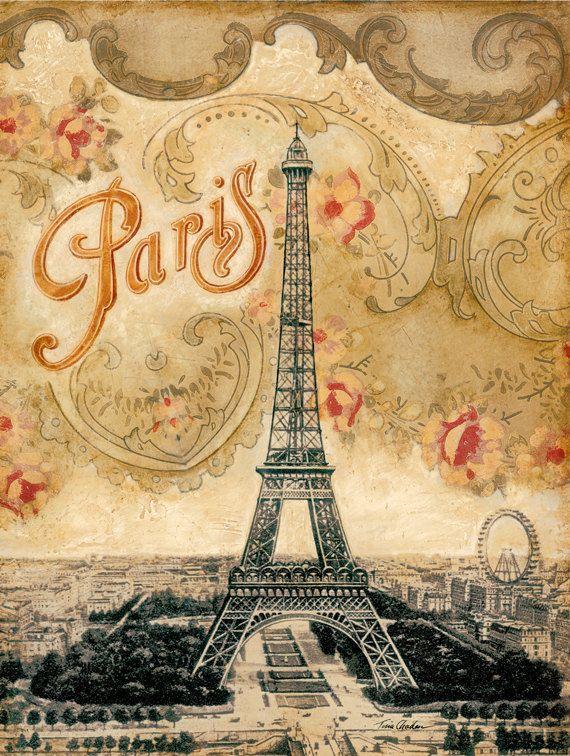 Eiffel Tower Paris France 12 X16 Vintage Paris Art