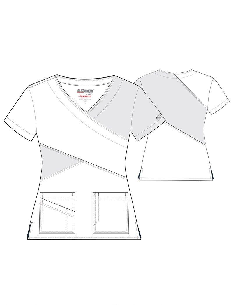 Grey\'s Anatomy Signature 3 Pocket Color Block Mock Wrap Scrub Top ...