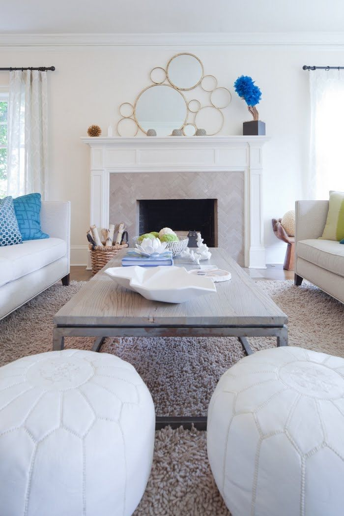 White Leather Moroccan Pouf in classic, glam living room ...