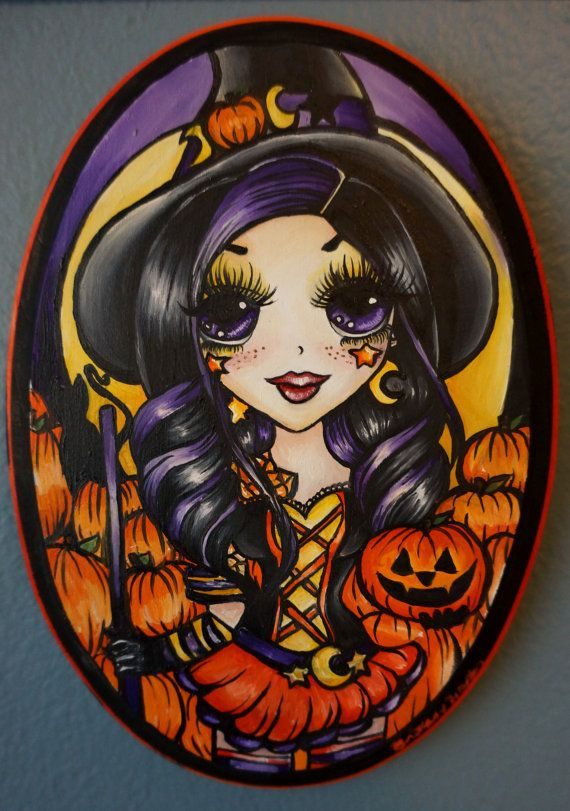 pumpkin witch halloween decoration cute big eye by pajamasquid 6500