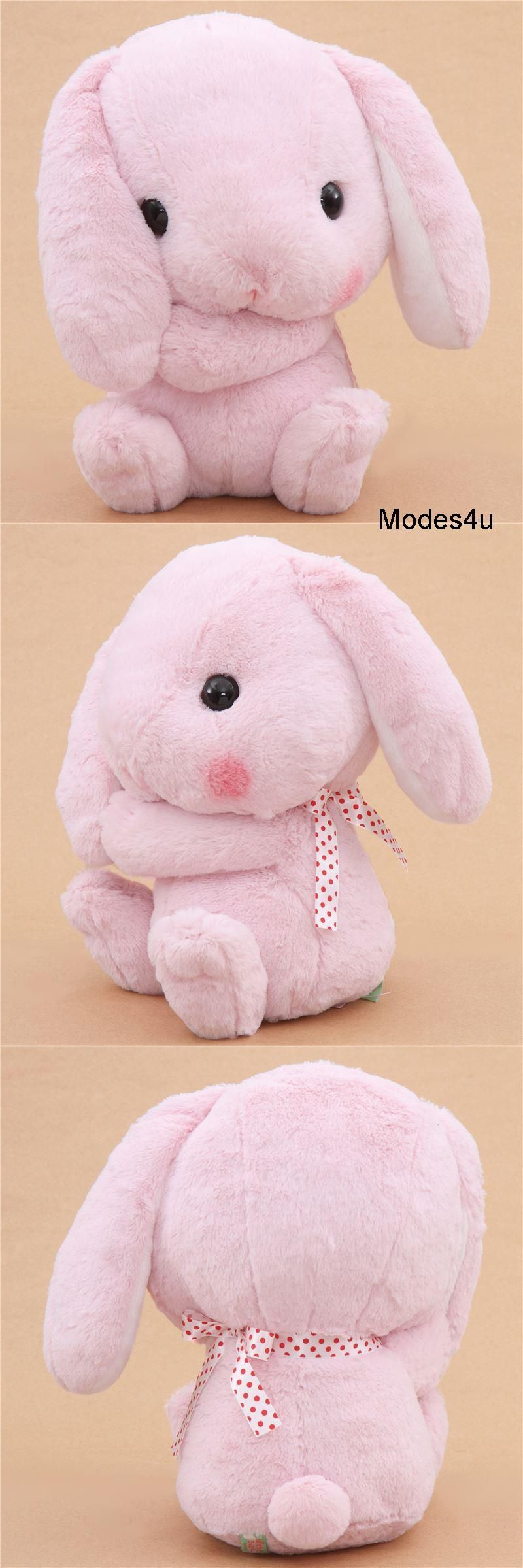 0988f3b0f21 Kawaii pink bunny plush with a white and red polka dot tie!