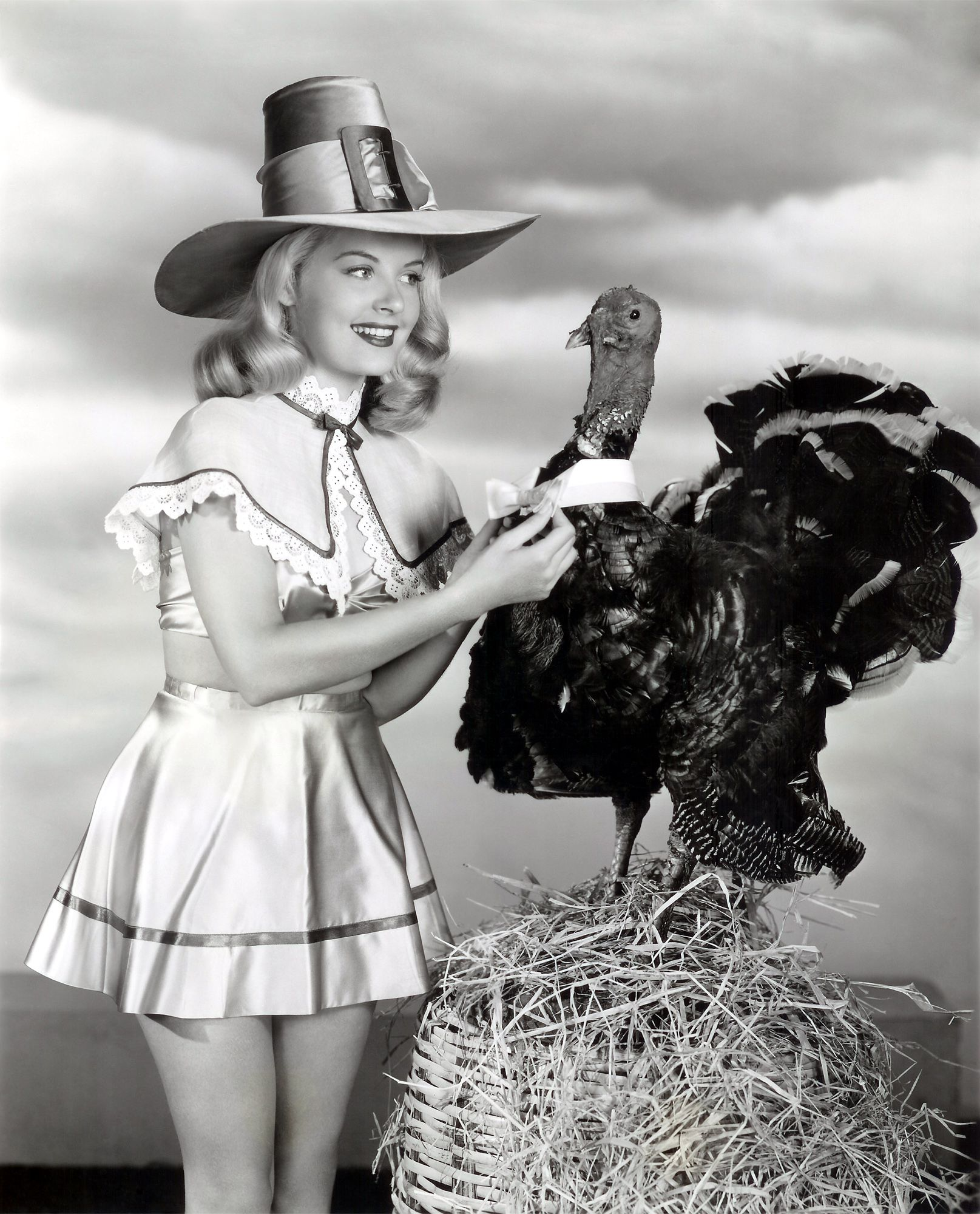 0 Barbara Bates with a turkey