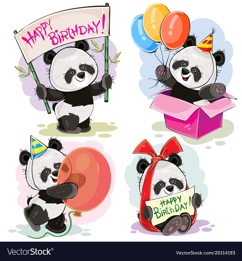 Happy birthday set with baby panda bears vector image on