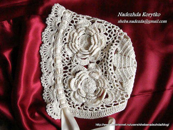 Christening  set dress bonnet  for baby girl by HandmadebyNadiyaK, $98.00