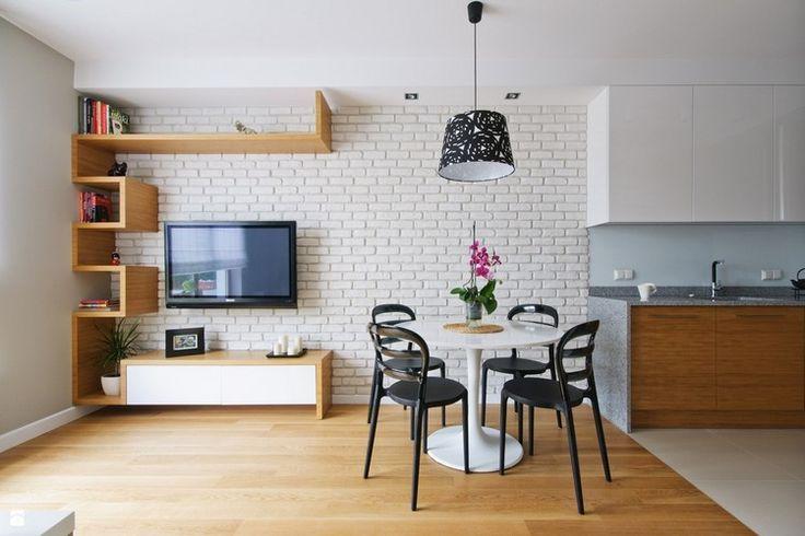 awesome Déco Salon - salle de séjour moderne avec mu de brique