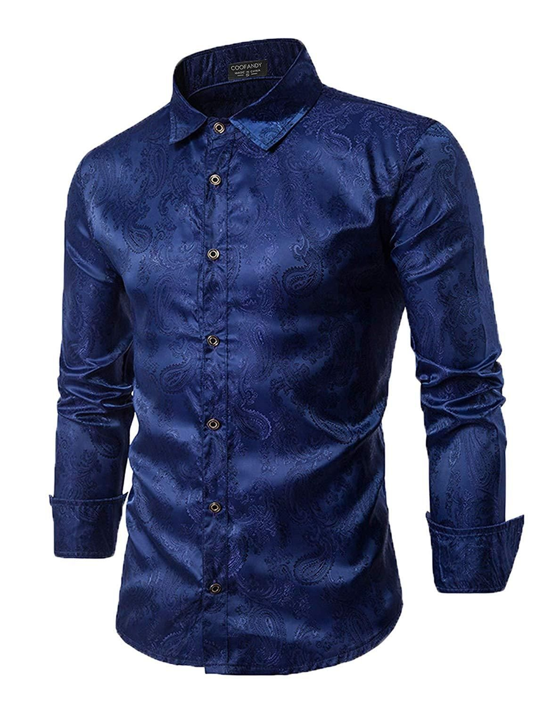Mens Navy Blue Paisley Silk Satin Look Dress Shirt All Size S M L XL XXL 3XL 4XL
