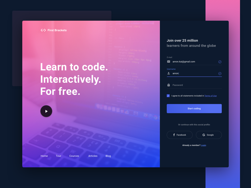 Learn To Code Sign Up Form  UiUx Design