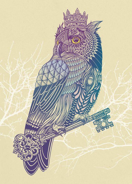 Owl King Color Art Print By Rachel Caldwell