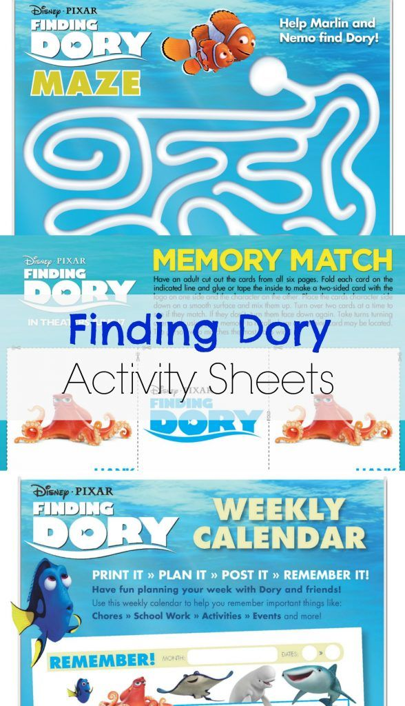 FREE Find Dory Printable Coloring Pages and Activity Sheets - new pixar coloring pages finding nemo