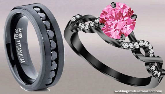Pink And Black Diamond Wedding Rings And These Are Perfect For