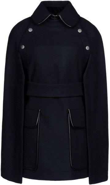 VICTORIA BECKHAM Blue Cloak Baize, solid colour, claudine or round collar, two pockets, snap button closure, unlined, belt, sleeveless, front closur. Details: composition: 80% virgin wool, 20% angora.