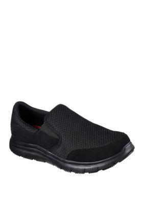mcallen casual slip resistant work shoes  skechers black