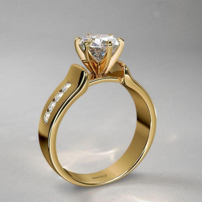 d6f3e20c6afd Anillo de Compromiso 1 2 qt Diseño con Doble Guía en Oro Amarillo ...