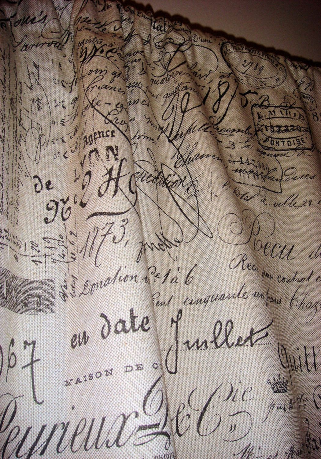Room Vintage French Script Curtain
