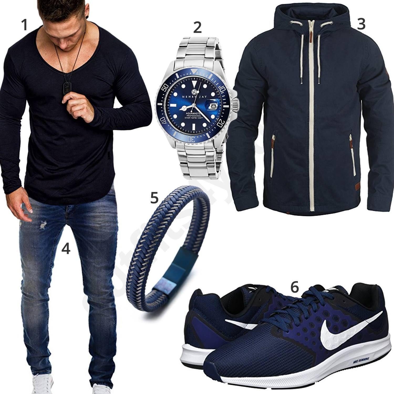 Blaues Herren Outfit mit Lederarmband, Uhr und Nike Schuhen