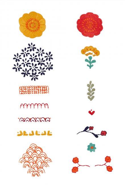 Marigold Elements - pattern - Free Embroidery Patterns #freepattern