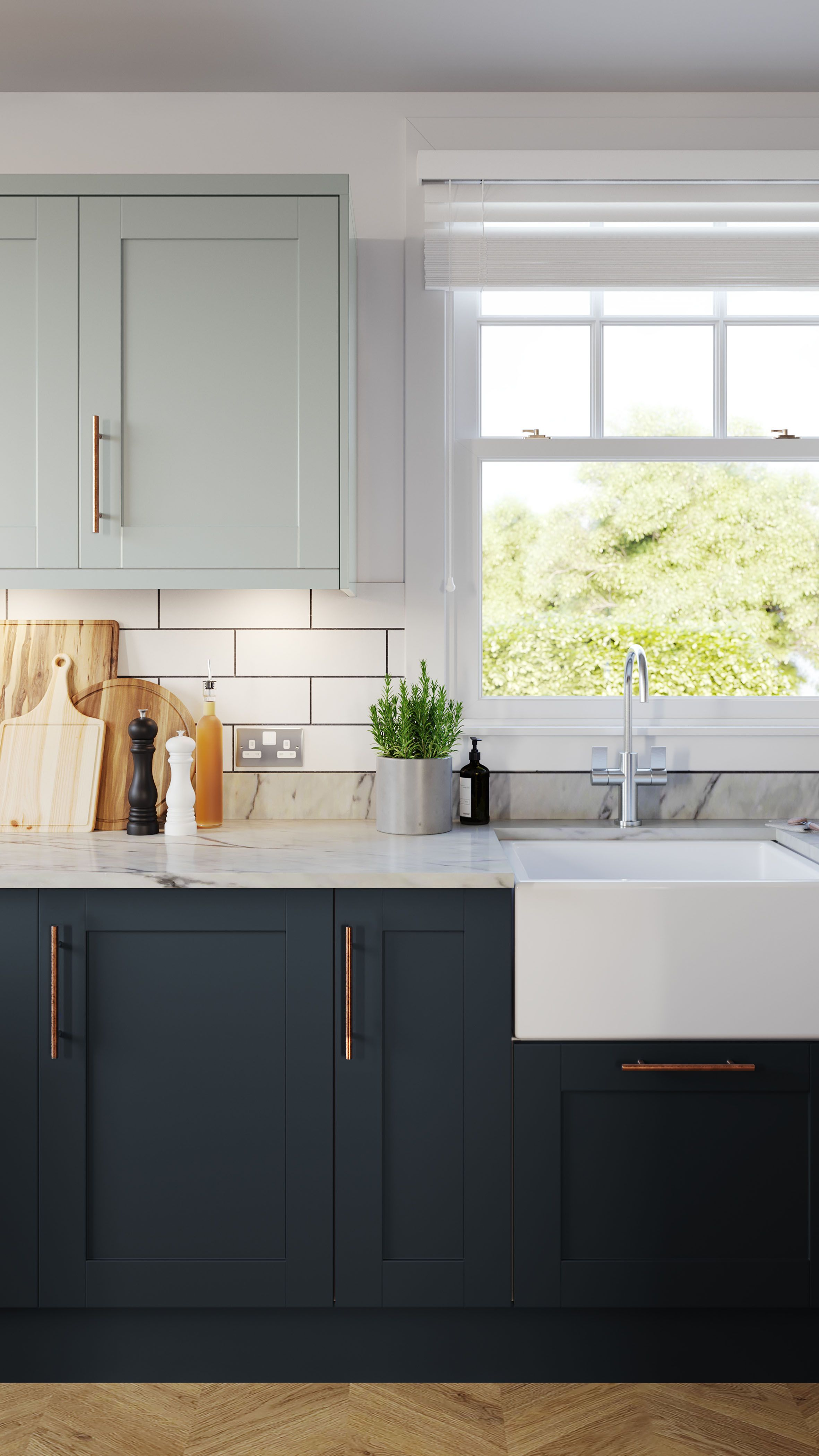 I Like The Different Colors On Top Bottom Cabinets In 2020 Homebase Kitchens Tiny House Kitchen