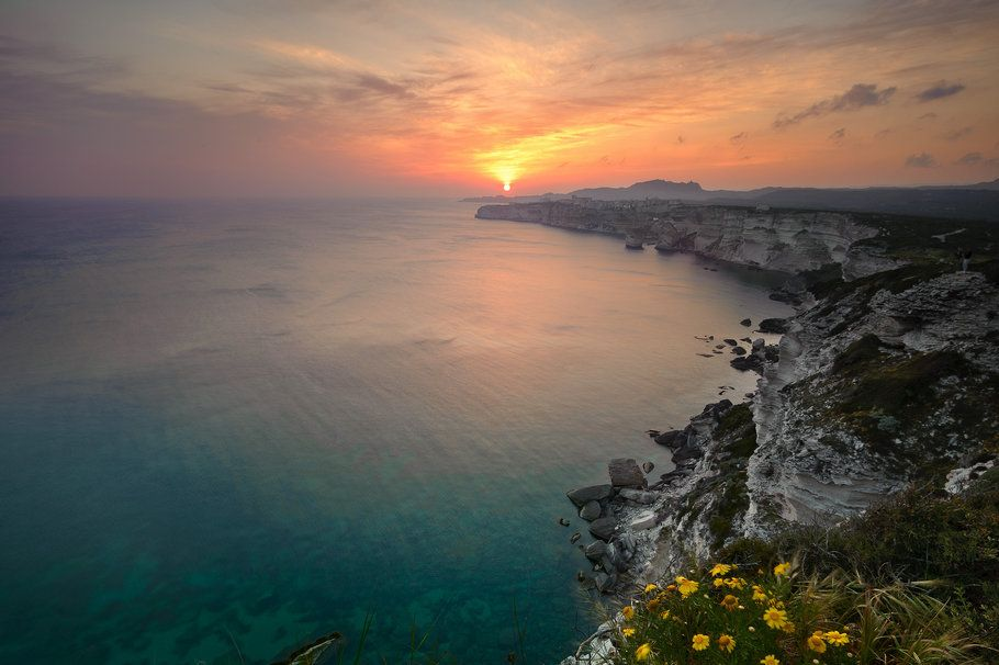 Sea, ocean, water, horizon, beach, rocks, sunset, sky, evening, nature wallpaper
