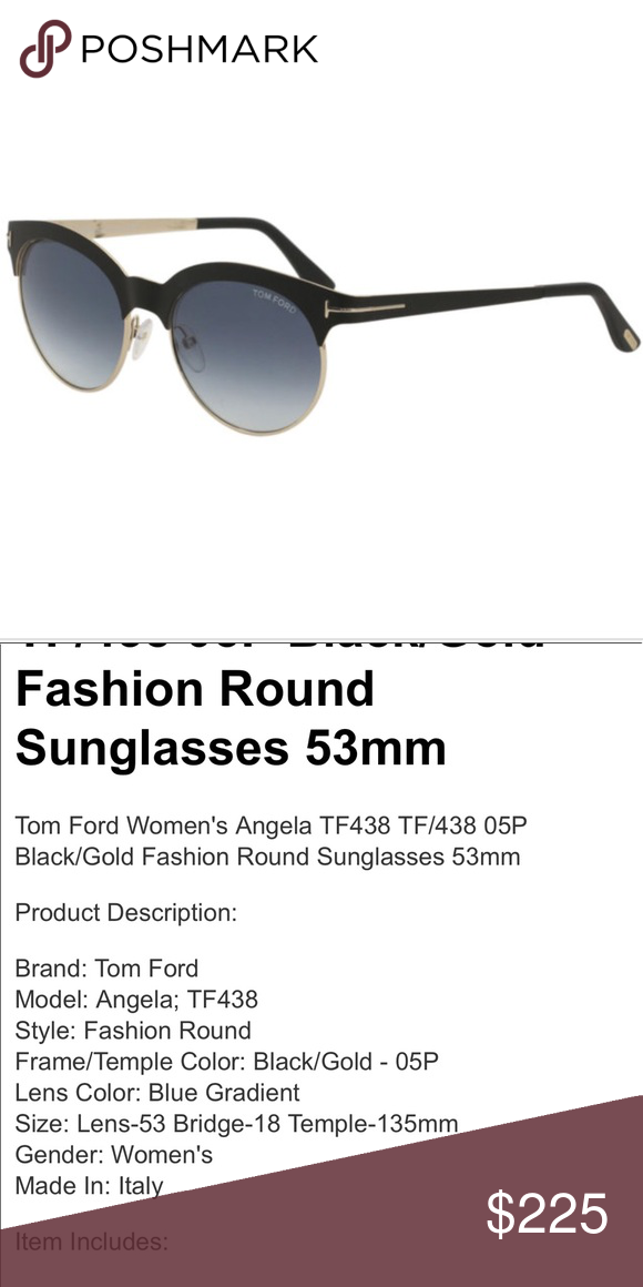 97ccf219df2a Tom Ford Angela 53mm browline sunglasses 100% authentic. Matte Black Gold    Blue Gradient Sunglasses. Model  TF 438 05p. case included.