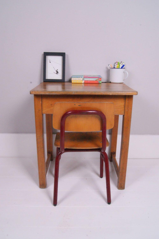 Children S Vintage Single School Desk With Lift Up Lid By Bluetickingspaces On Etsy Https Www Etsy Com Listing With Images Vintage School Desk School Desks Perfect Desk