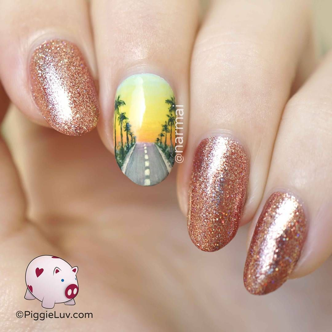 Tropical sunset view gradient | Nail art, Nails, Beauty