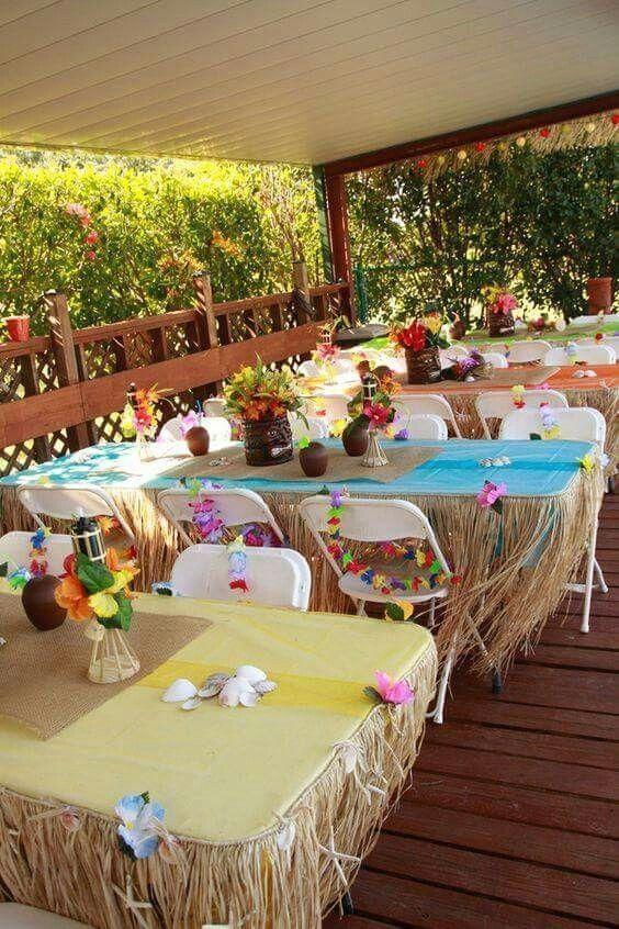Easy enough setup for grad party decor - hawaiian style! # ...