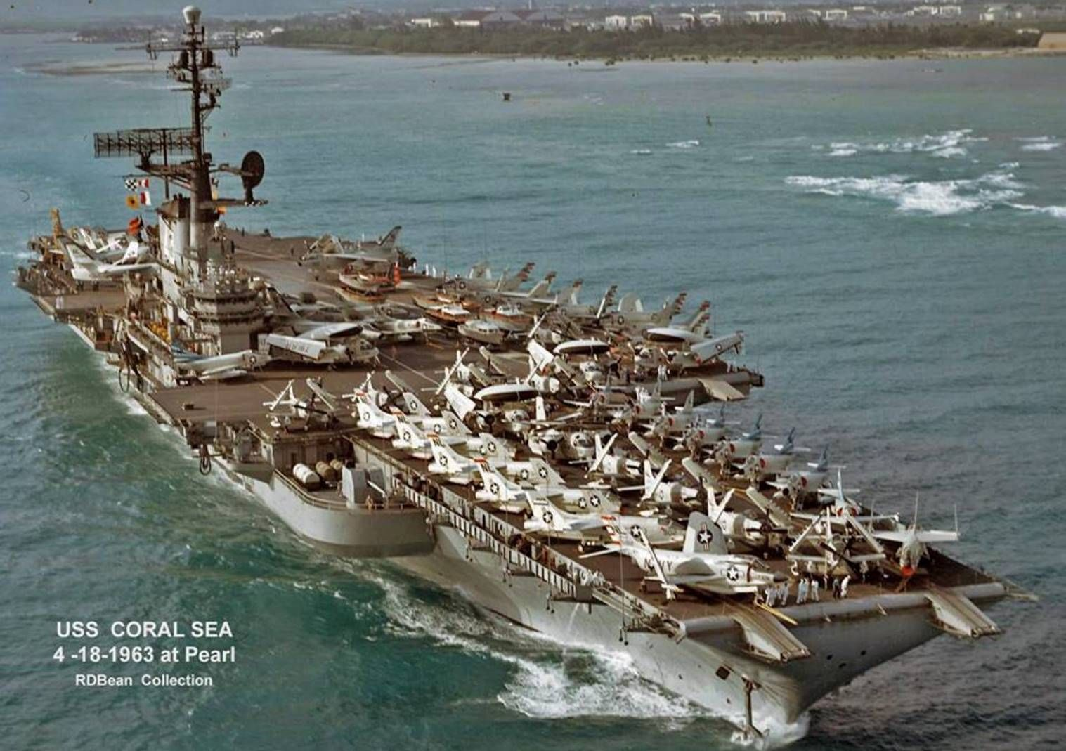 uss coral sea cv 43 looking spiffy at pearl