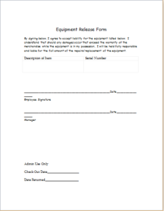 Equipment Release Form Download At HttpWwwTemplateinnCom