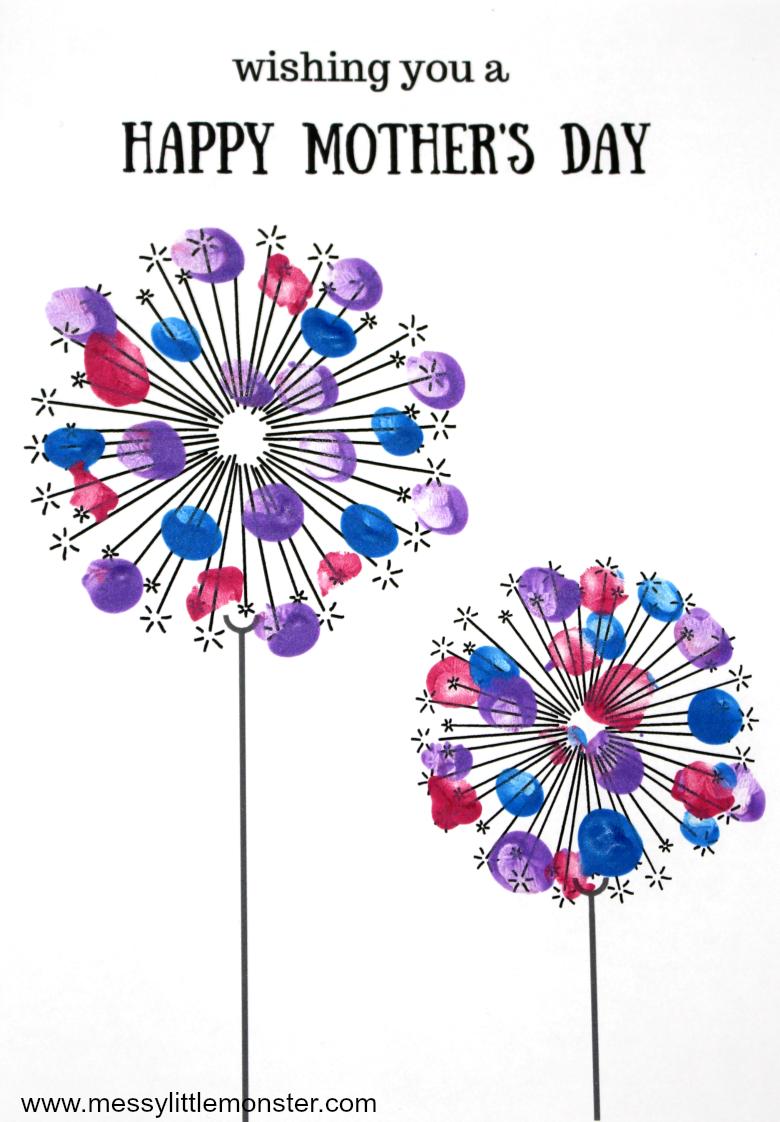 fingerprint dandelion  Printable Mothers day card keepsake craft for kids