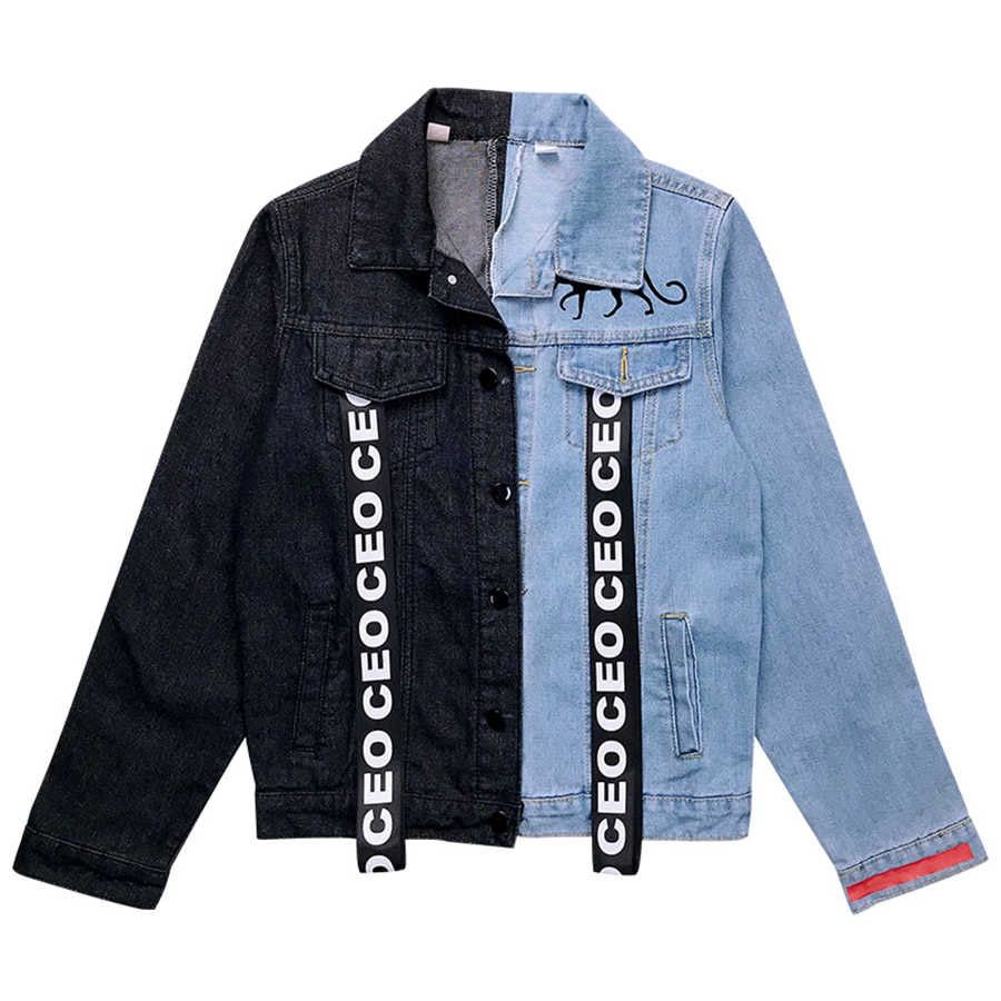 Ribbon Denim Jacket Women Spring Coat Short Patchwork Jean Jackets