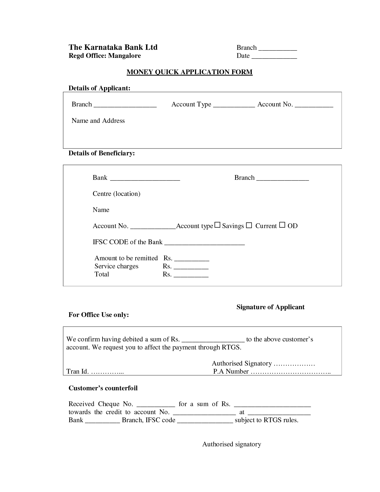 Karnataka Bank Rtgs Application Form  Sony Pharmaceuticals