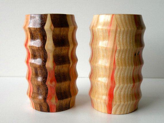 Handmade Monkeypod , Ash & Flame Box Elder Salt and Pepper Shakers Set