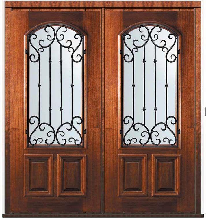 Now! $3,404 Prehung Double Door 80 Mahogany Valencia Arch Lite Wrought Iron