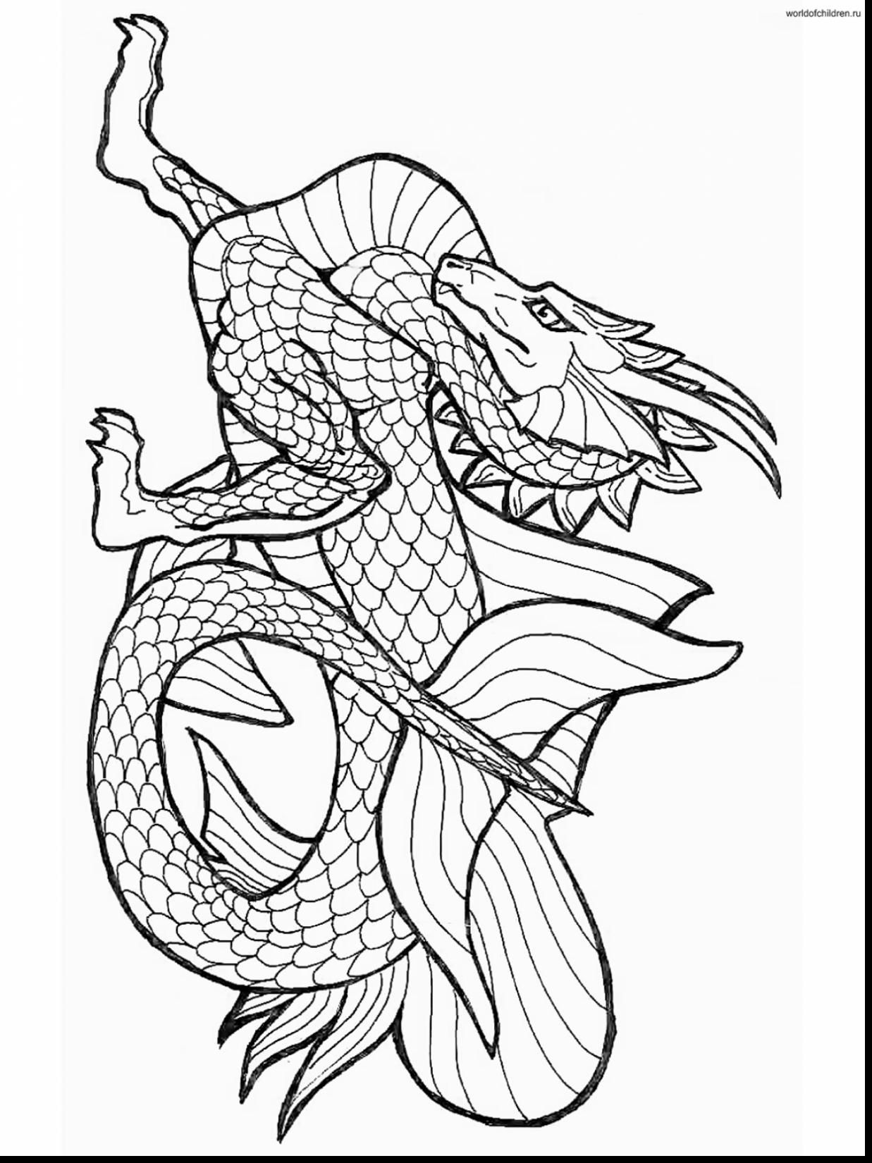 Good Dragon Coloring Pages With Chinese Dragon Coloring Pages And