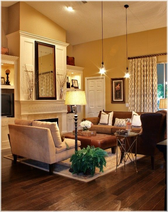 Living Room Curtains Yellow Paint Pendant Lights Brown Sofa Taupe Sofa Fireplace Living Room Warm Living Room Color Schemes Brown Living Room #yellow #paint #living #room