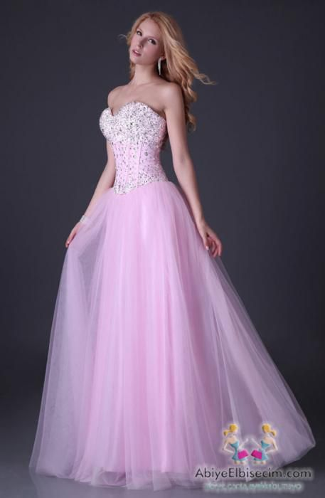 prenses abiye elbise pembe | Abiye kıyafet | Pinterest | Gaby ...