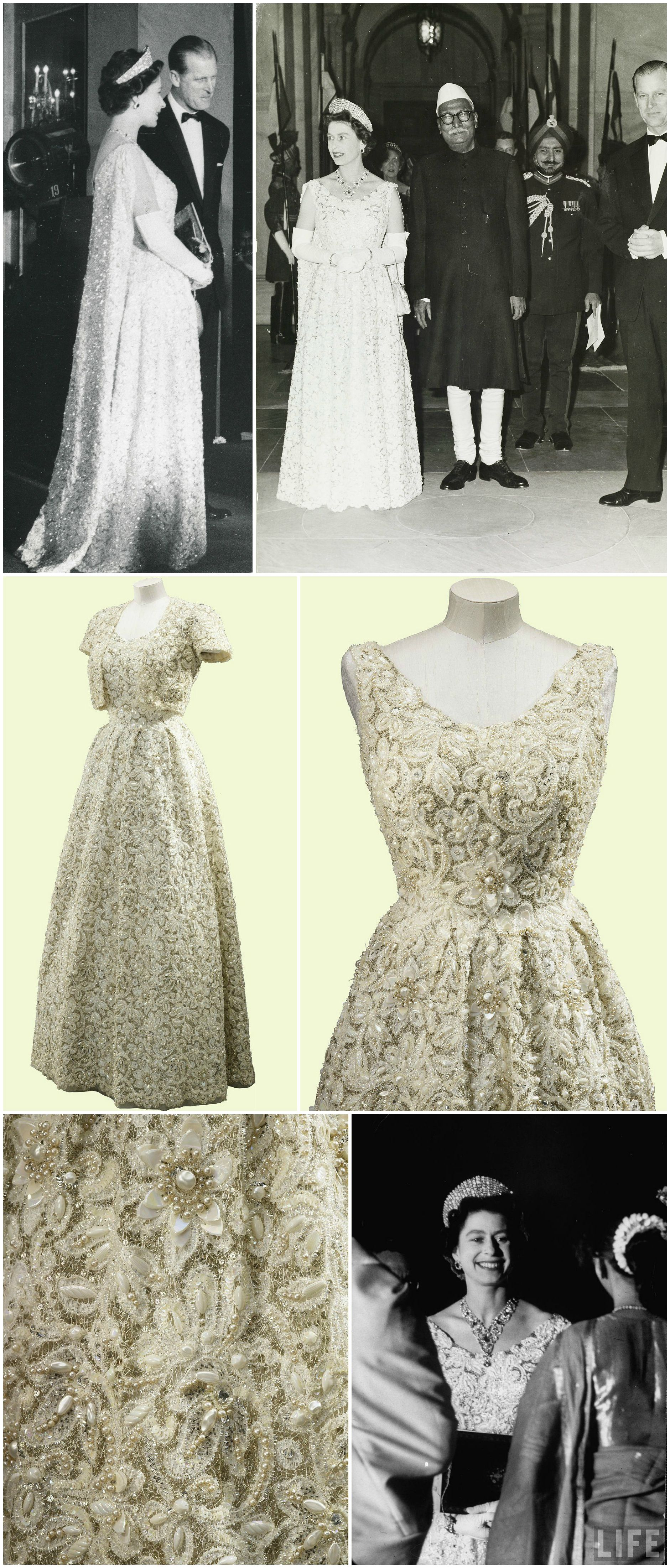 Evening dress by norman hartnell worn by hm queen elizabeth ii