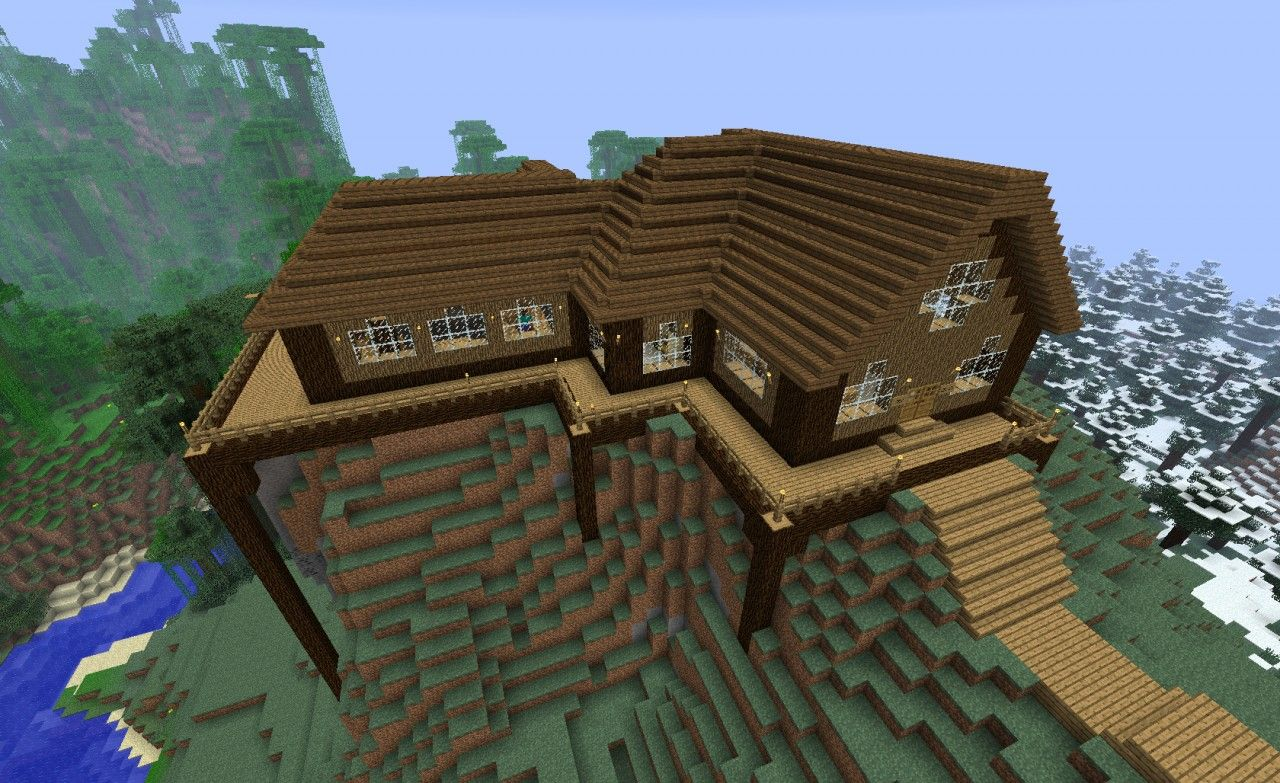 Wooden Home Minecraft Map Minecraft Wooden House House In The Woods Minecraft Projects