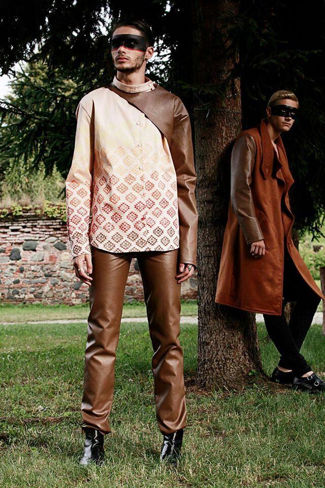 Block printed men shirt, Chinese collar, leather sleve, Wonderland by Lavinia Ilies