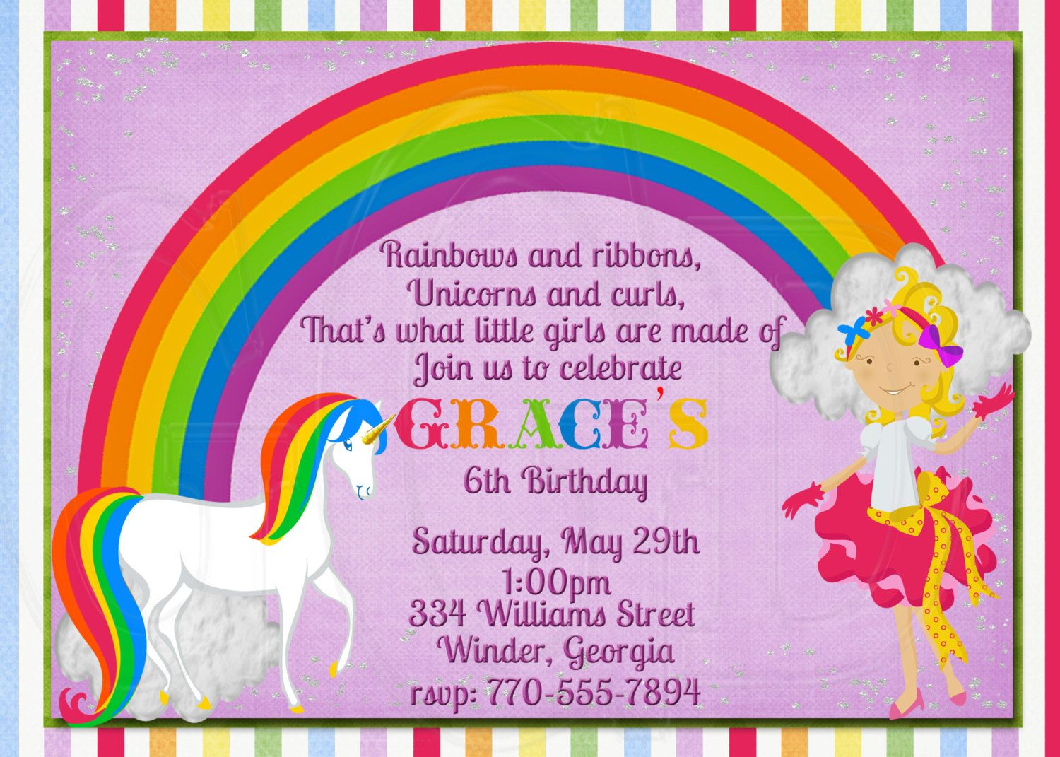 rainbow birthday invitations - Google Search