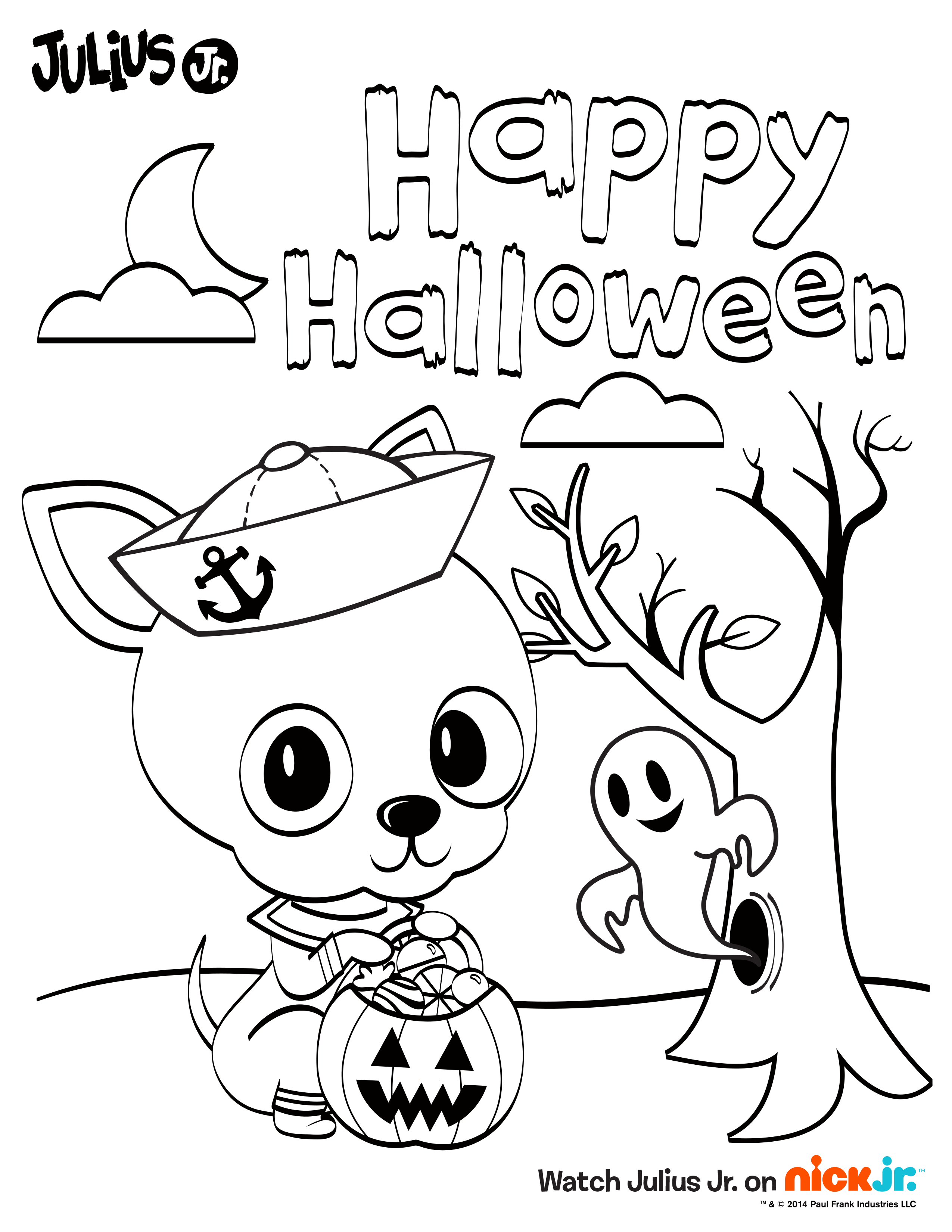 Happy Halloween From Chachi Enjoy This Fun Printable Coloring Sheet Happy Halloween Cards Halloween Coloring Book Happy Halloween