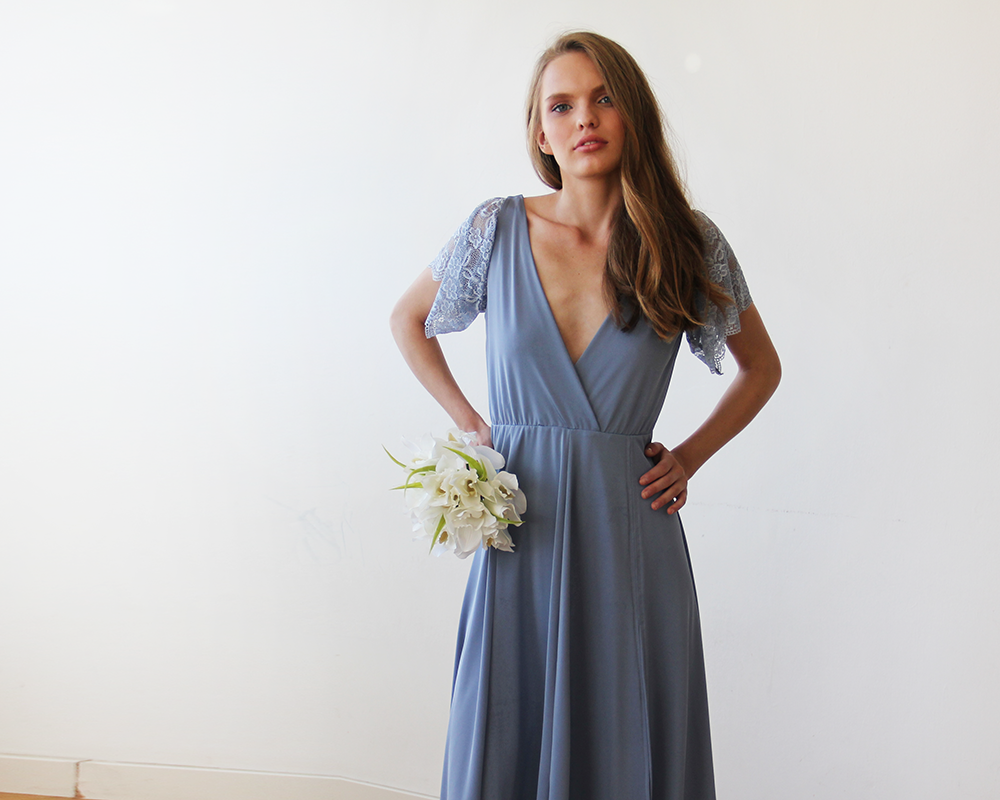 8036d0f19e Dusty Blue wrap maxi dress with short lace sleeves 1052 | Wedding ...