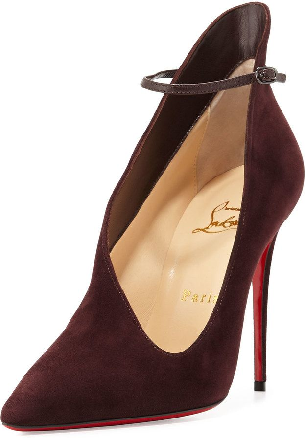 Vampydoly Suede Red Sole Half-Bootie, Burgundy by Christian Louboutin at  Neiman Marcus.