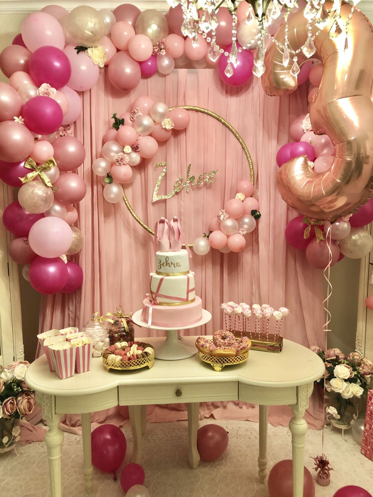 Daughters 3rd Birthday Party Ballerina Cake And Deco By