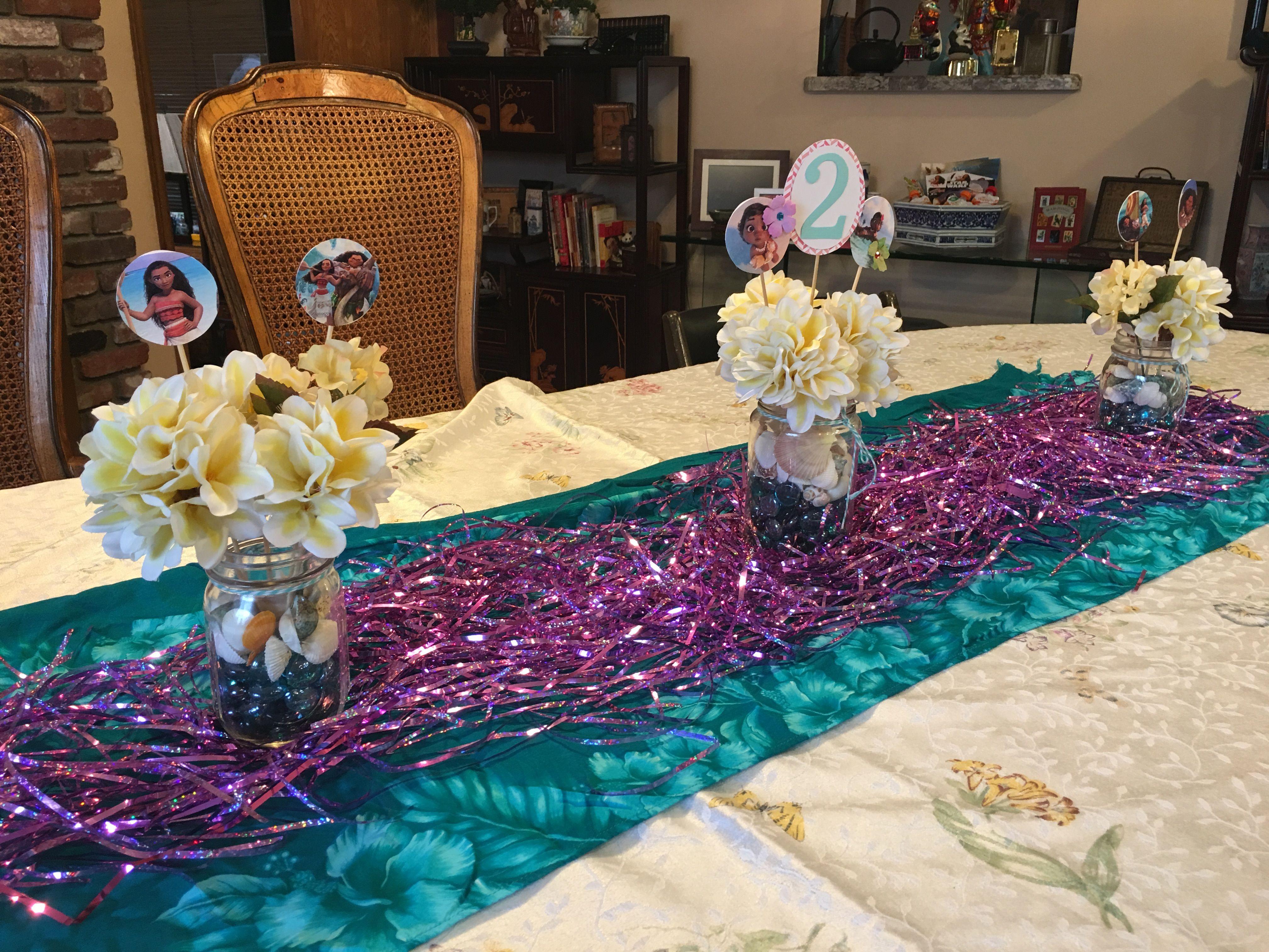 Moana Birthday Party Diy Table Decor And Centerpieces Diy